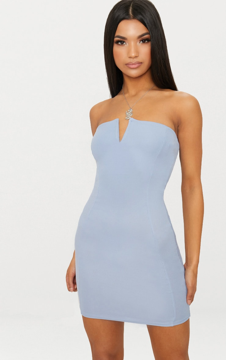 Plus Camel Second Skin Ribbed Bandeau Bodycon Dress Pretty Little Thing tAalRC5KA