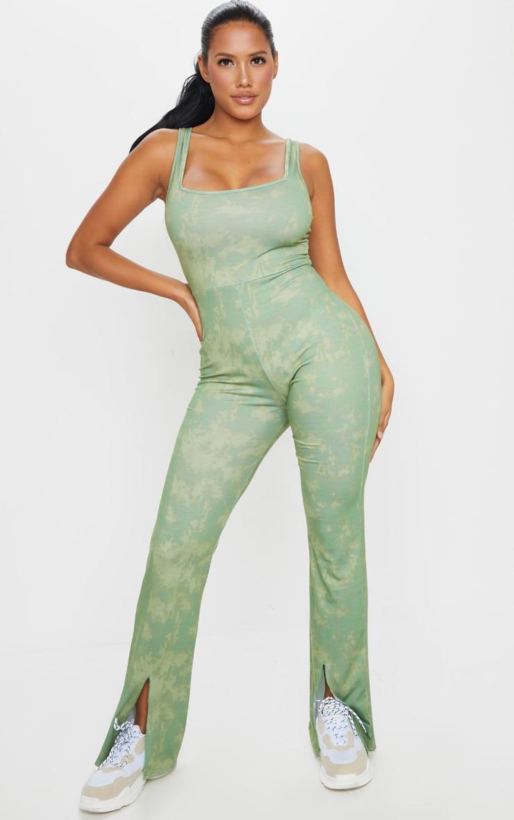 Shape Sage Green Tie Dye Cotton Square Neck Split Front Jumpsuit 1