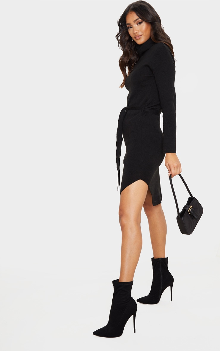 Black Roll Neck Belted Knitted Sweater Dress 3