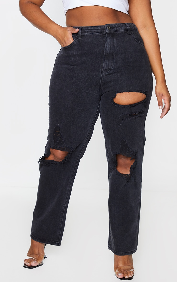 PRETTYLITTLETHING Plus Washed Black Distressed Straight Leg Jeans 2