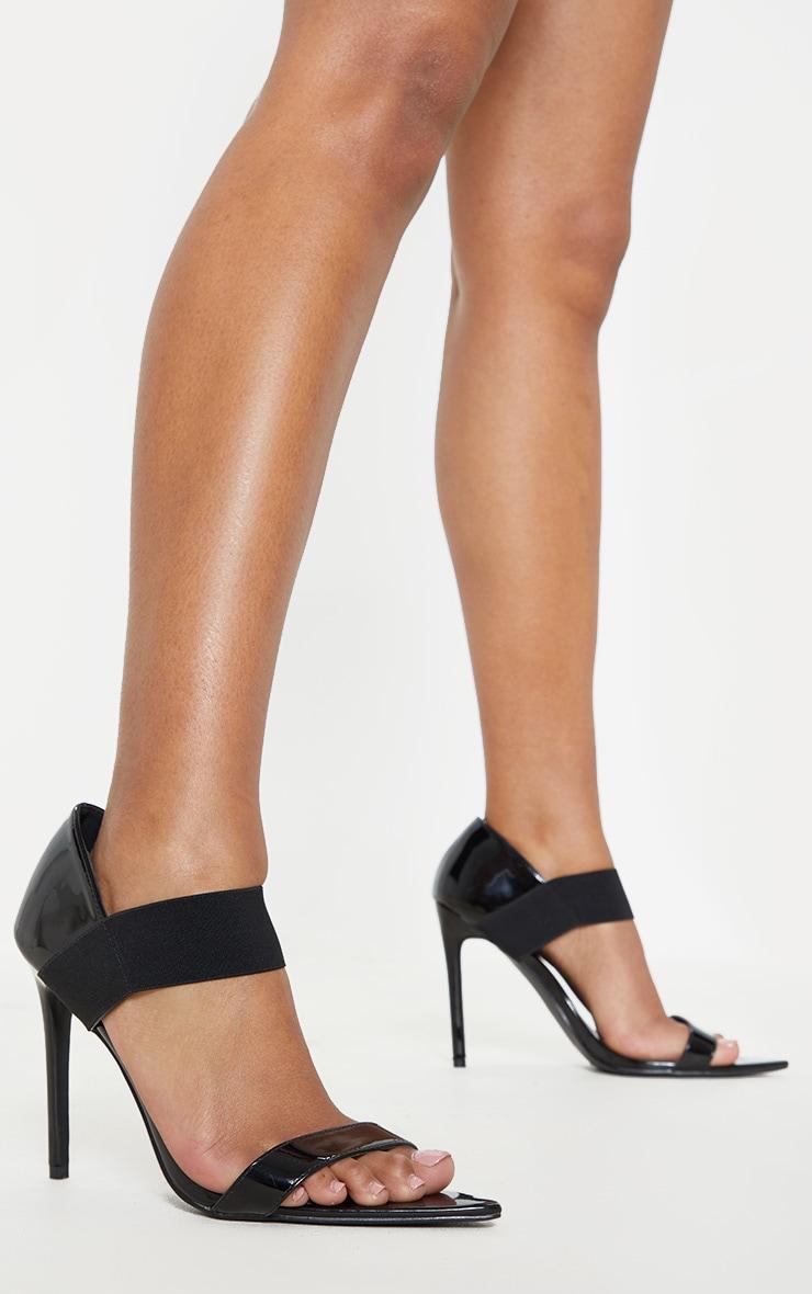 Sandales pointues noires vernies à large bride élastifiée 2