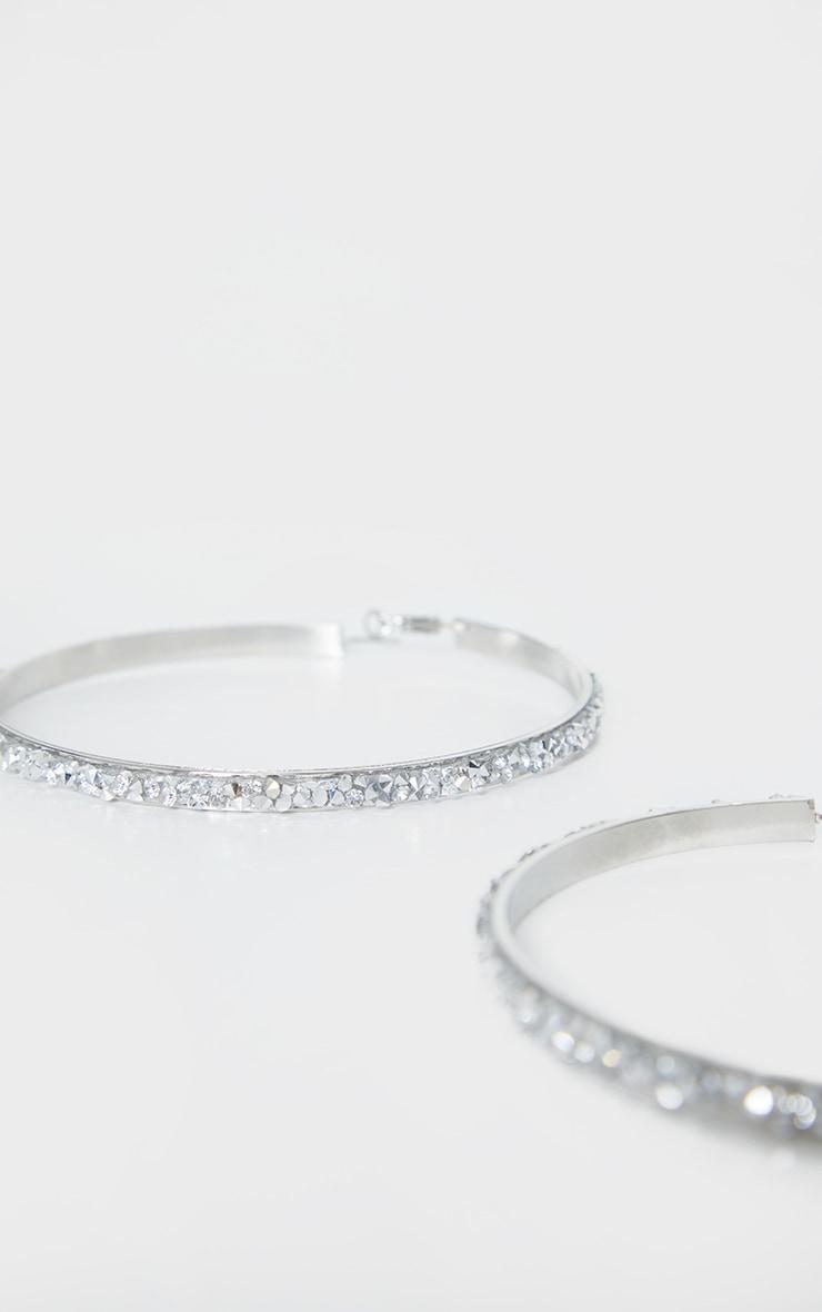 Silver Crystal Cluster Extra Large Hoop Earrings 3
