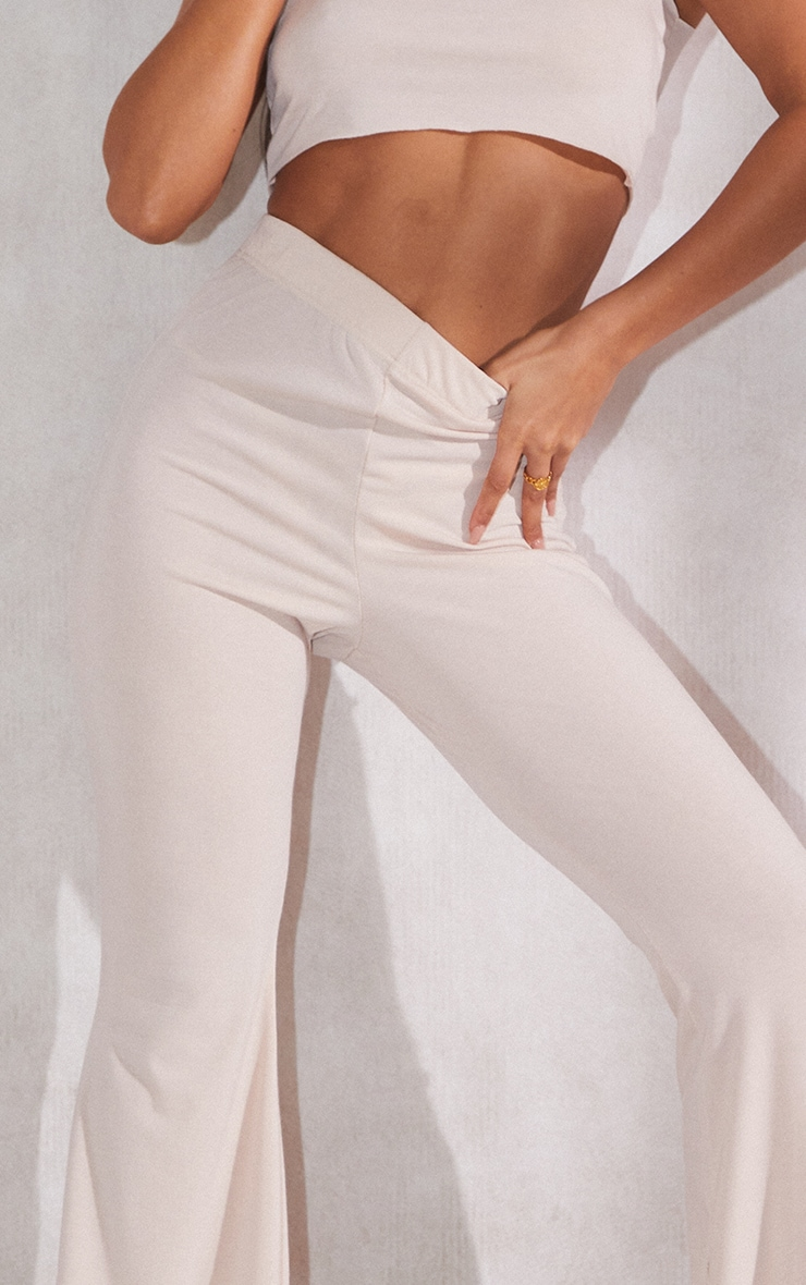 RECYCLED Beige Jersey Raw Edge Flare Pants 4