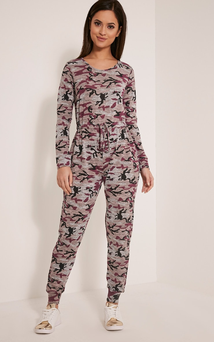 Lottie Mauve Camouflage Long Sleeve Casual Jumpsuit 1