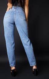 PRETTYLITTLETHING Mid Blue Knee Rip Mom Jean 3