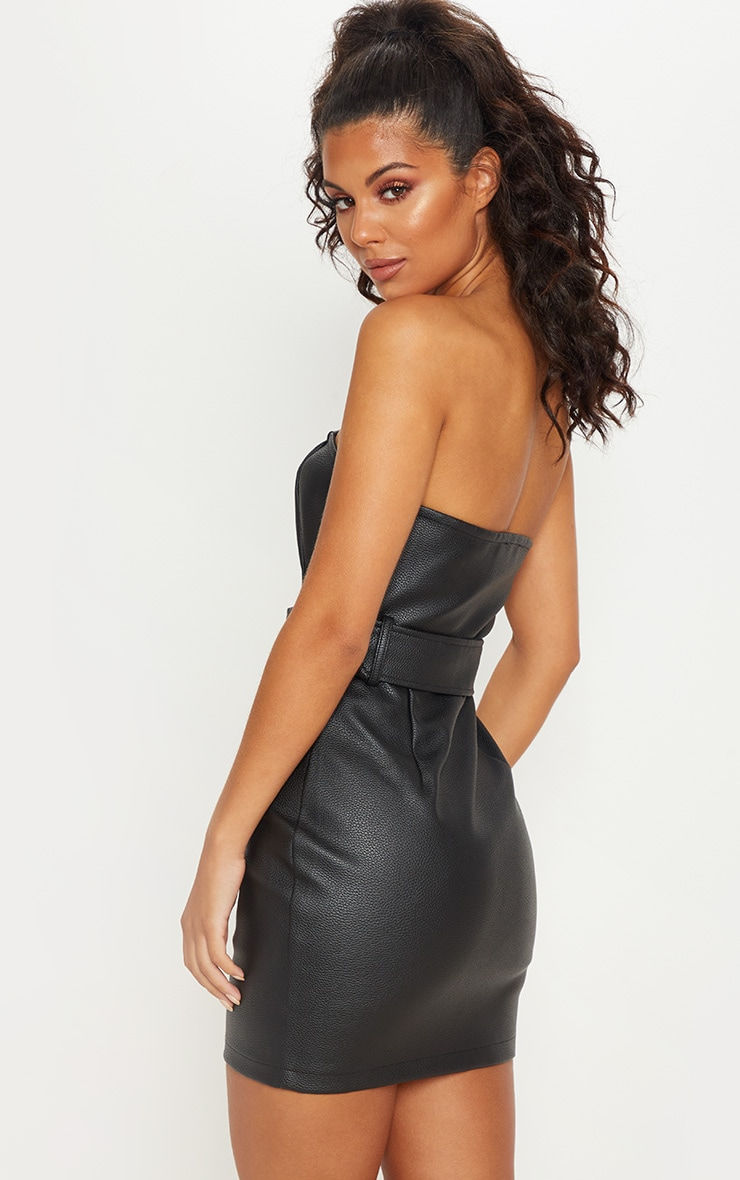 Black Faux Leather Chain Belted Bandeau Bodycon Dress 2