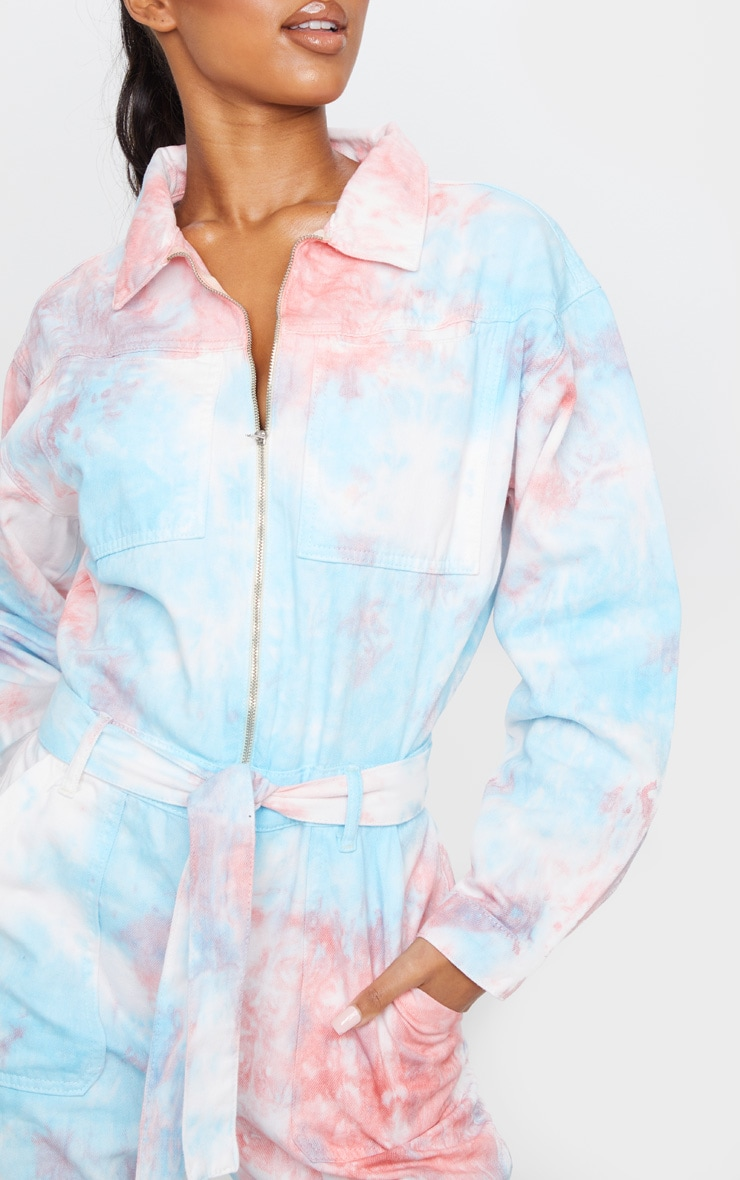 Multi Tie Dye Oversized Denim Jumpsuit 4