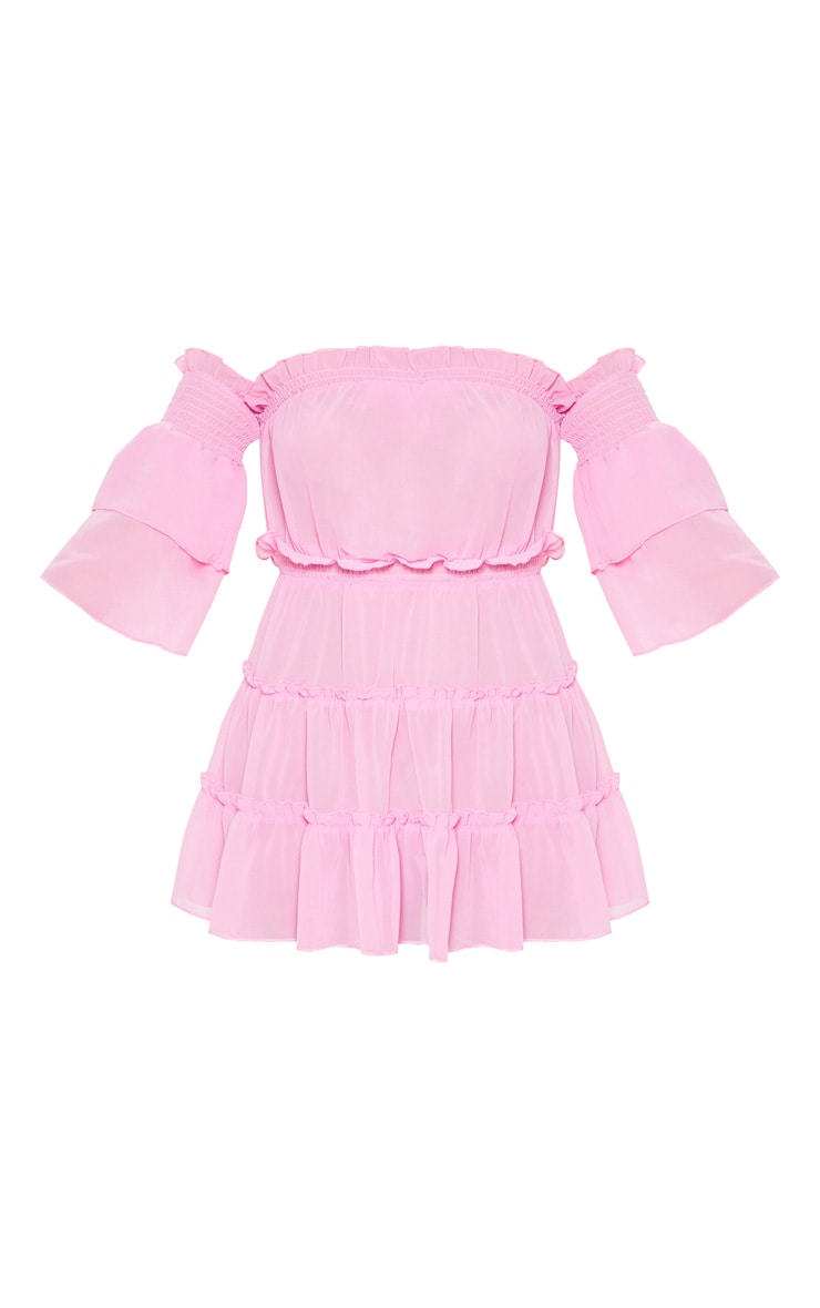 Pink Ruffle Tiered Off Shoulder Beach Dress 3
