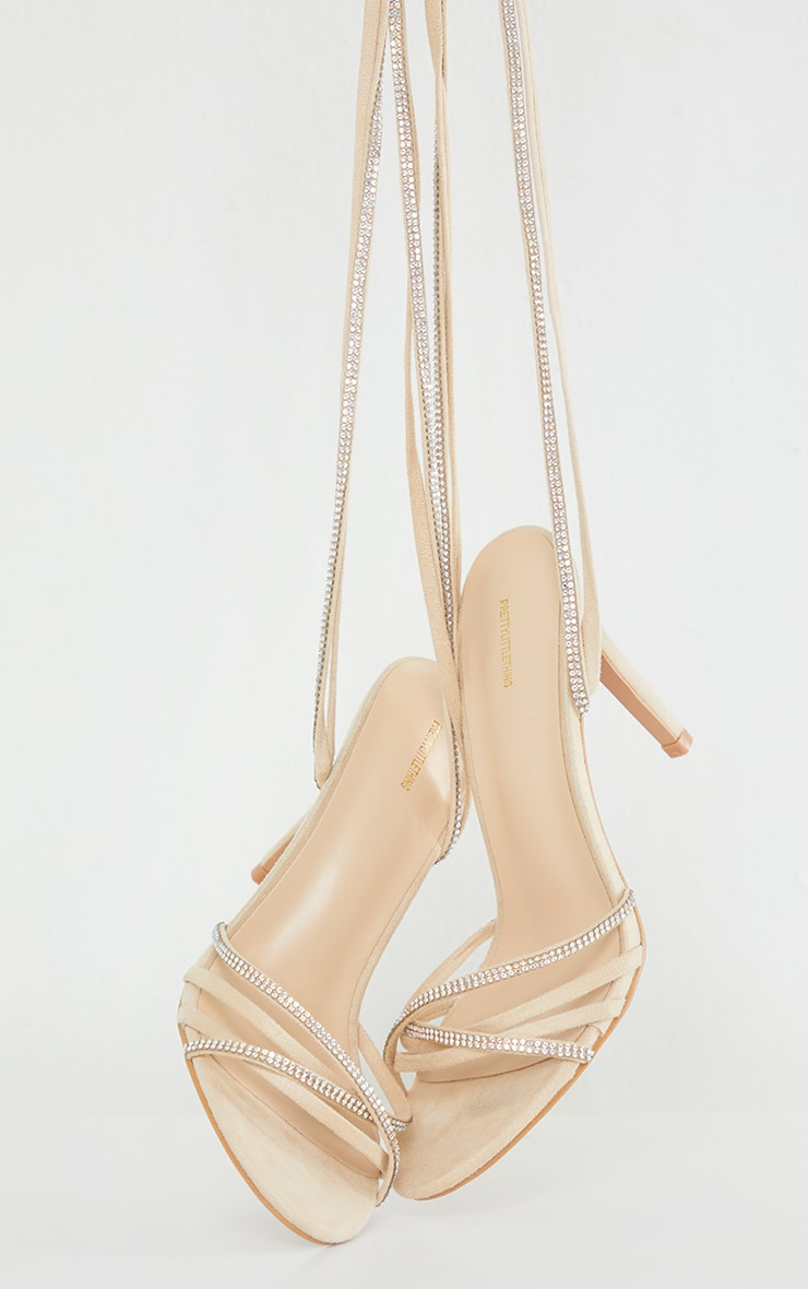 Nude Faux Suede Strappy Lace Up Diamante Heels 1