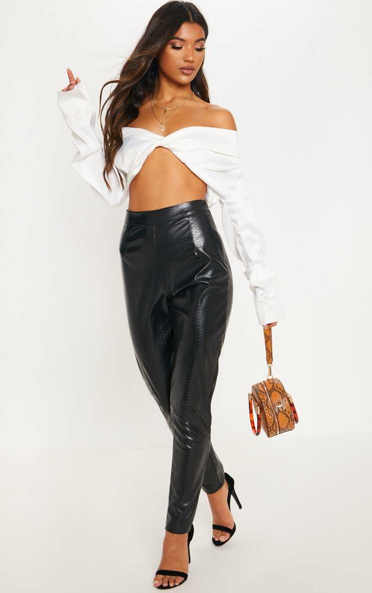 White Satin Bardot Twist Front Crop Blouse 3