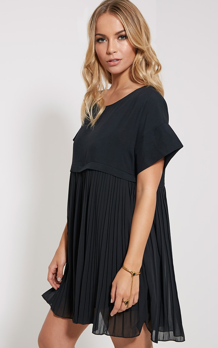 Caila Black Pleat Smock Dress 4