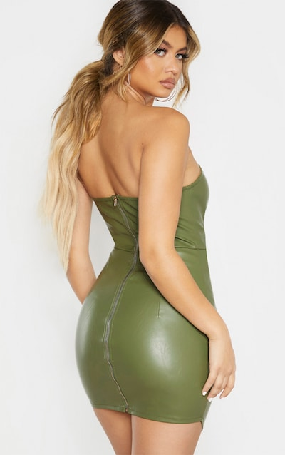 Khaki Faux Leather Binding Detail Bodycon Dress