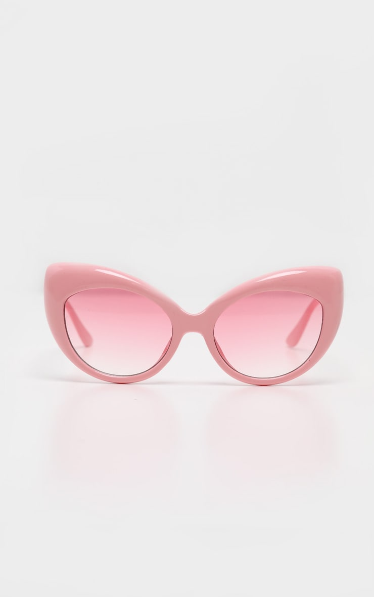 Pink Retro Chunky Cat Eye Frame Sunglasses 2