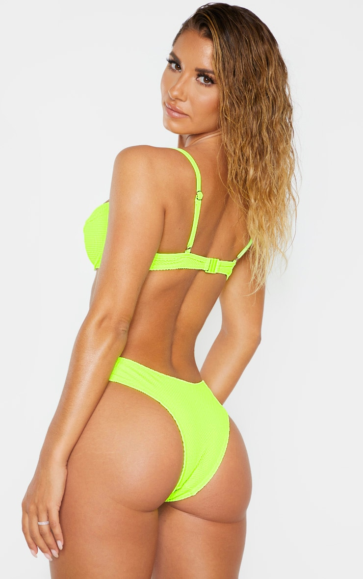 Neon Yellow Net Textured Underwire Bikini Top 2