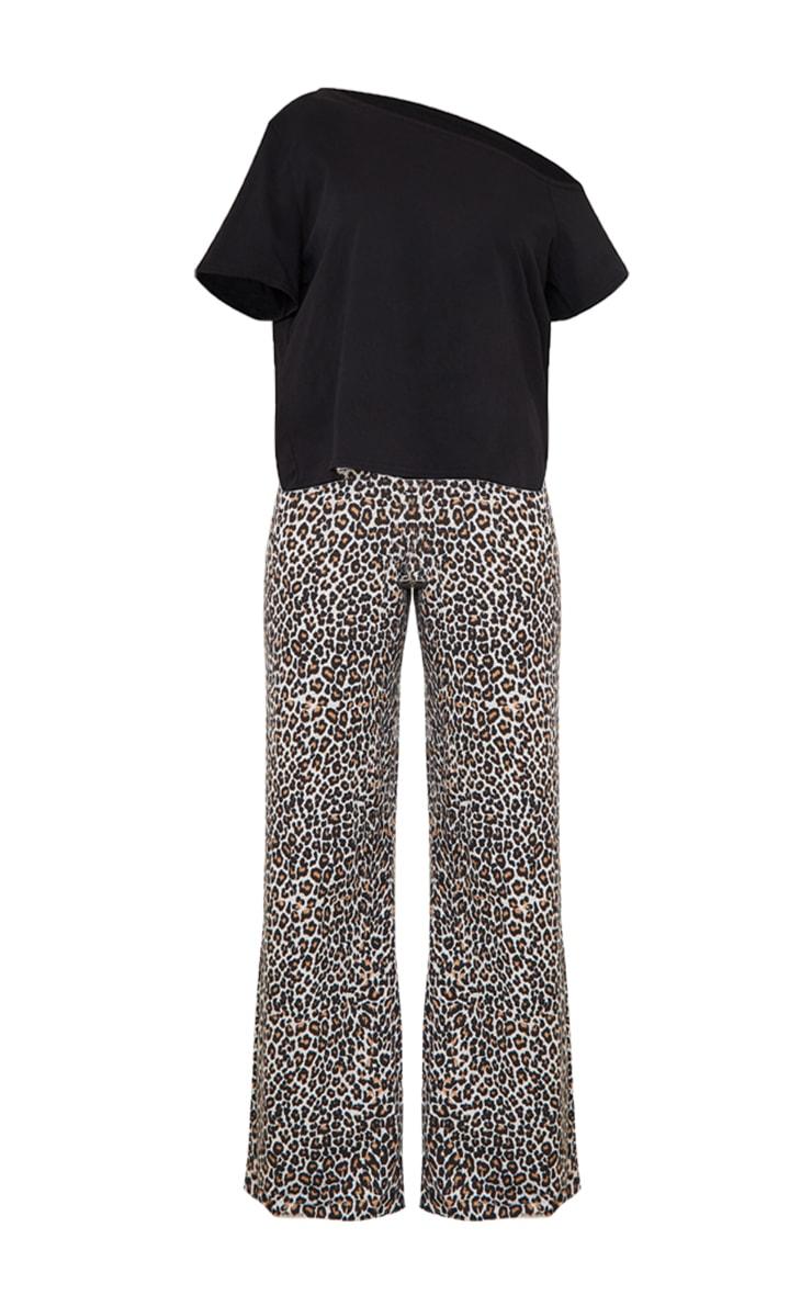 Brown Leopard Print Off The Shoulder Top & Bottoms PJ Set 5