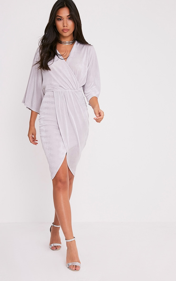 Meliana Ice Grey Slinky Kimono Sleeve Midi Dress 1