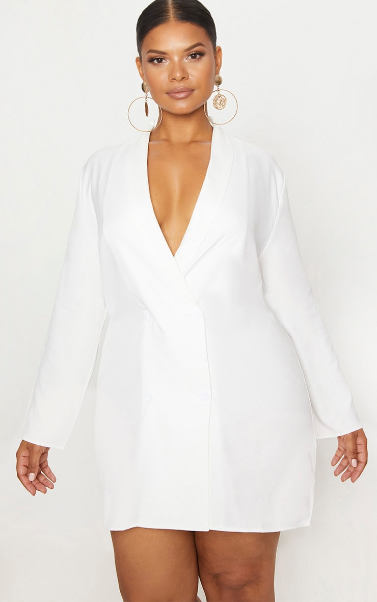 Plus White Oversized Blazer Dress