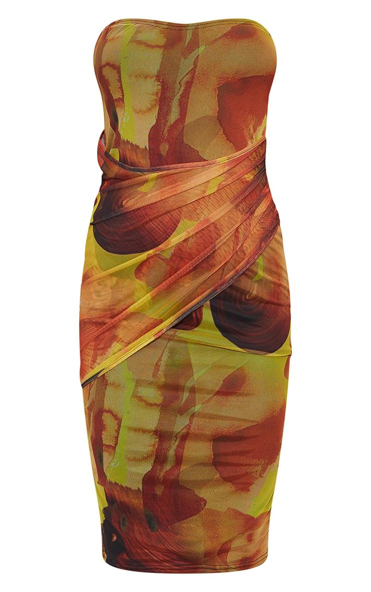 Orange Abstract Print Mesh Bandeau Drape Midi Dress 5