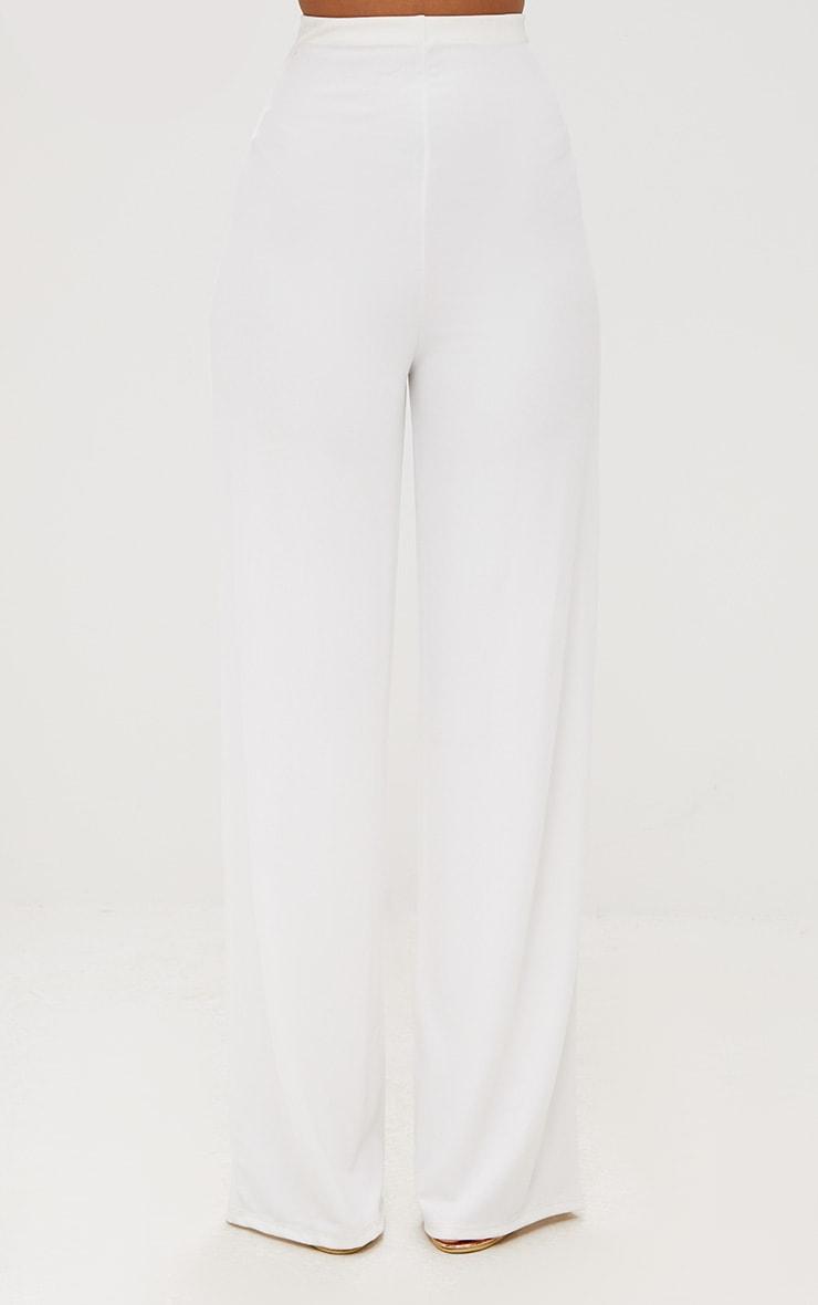 White High Waisted Wide Leg Pants  3