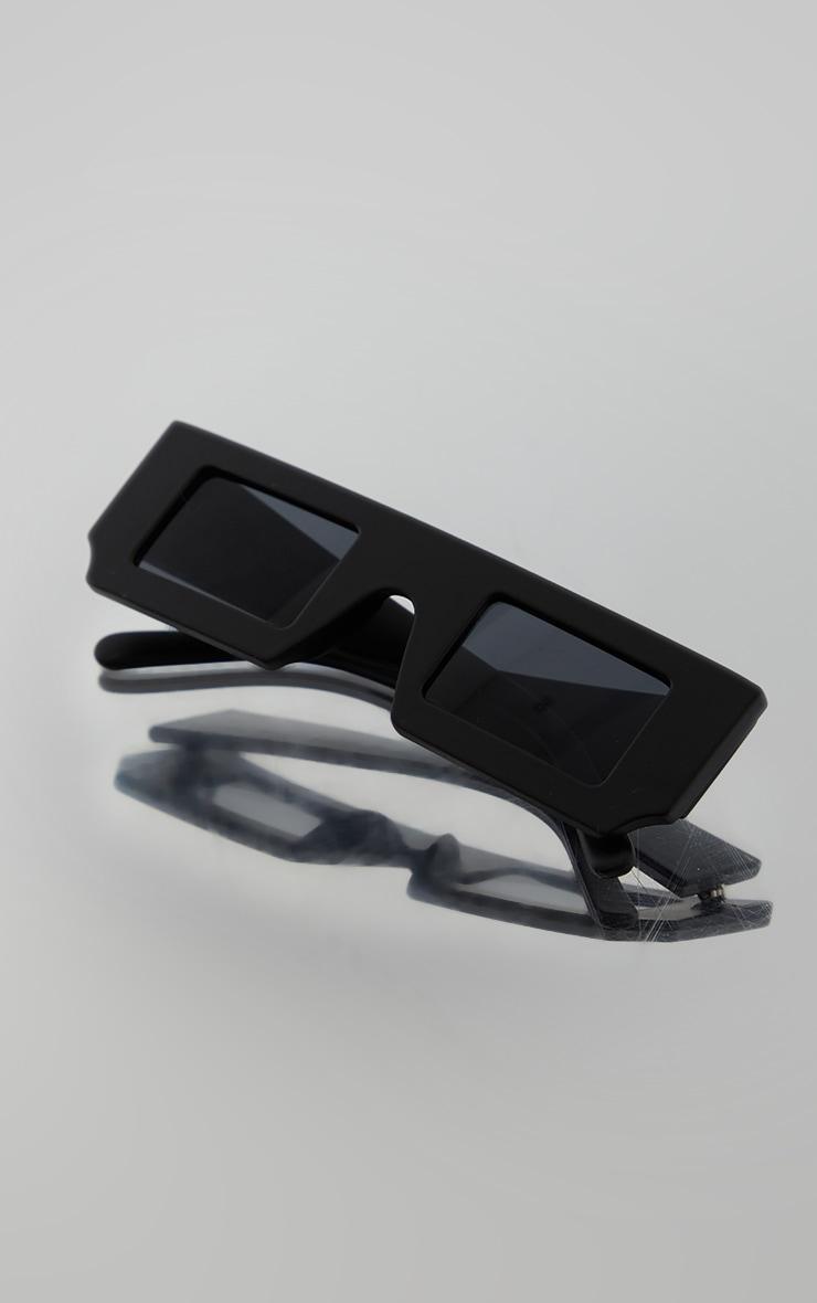 Matte Black on Black Asymmetric Square Sunglasses 2