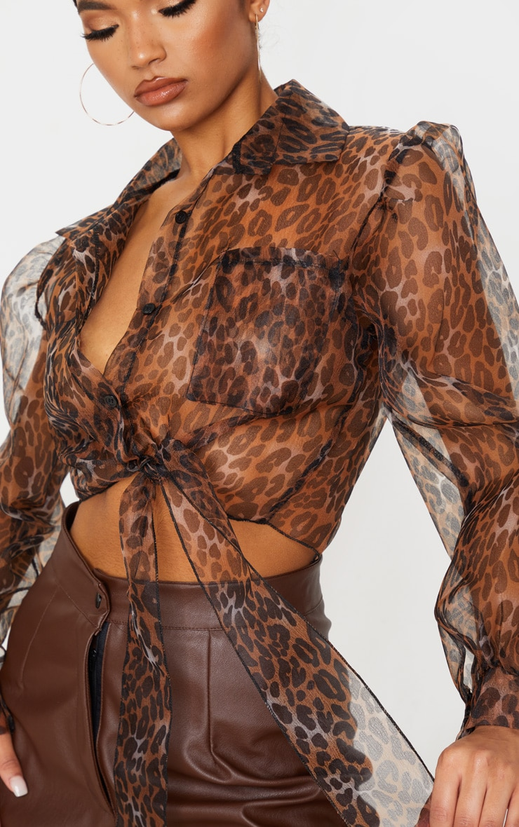 Tan Leopard Sheer Tie Front Cropped Blouse 5