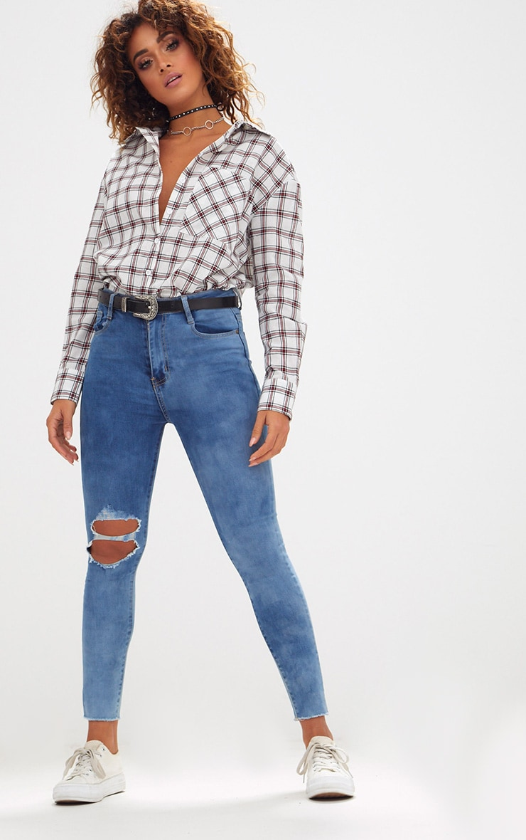 Mid Wash Double Knee Rip High Waisted Skinny Jean 1