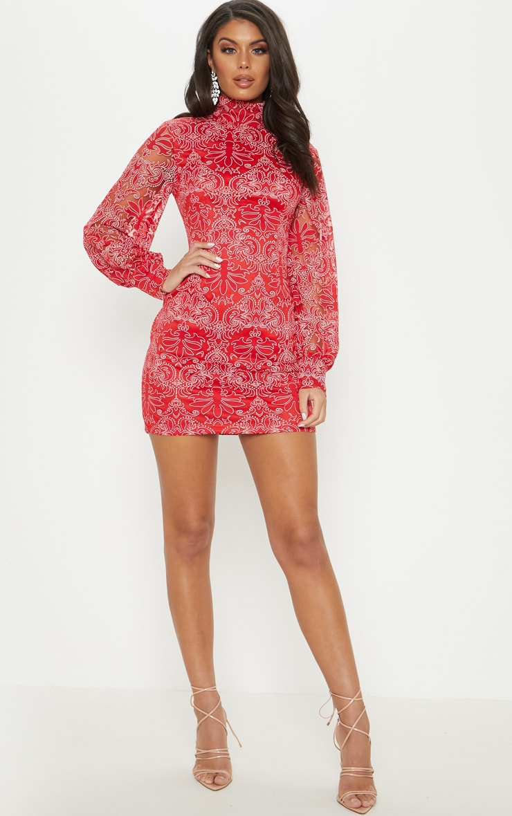 Red Flocked Lace Long Sleeve Bodycon Dress 4