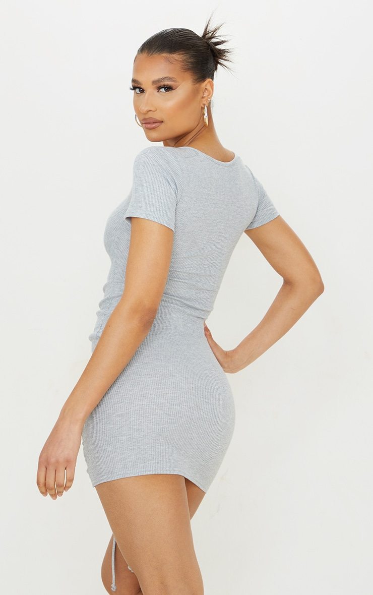 Grey Rib Ruched Front Short Sleeve Bodycon Dress 2