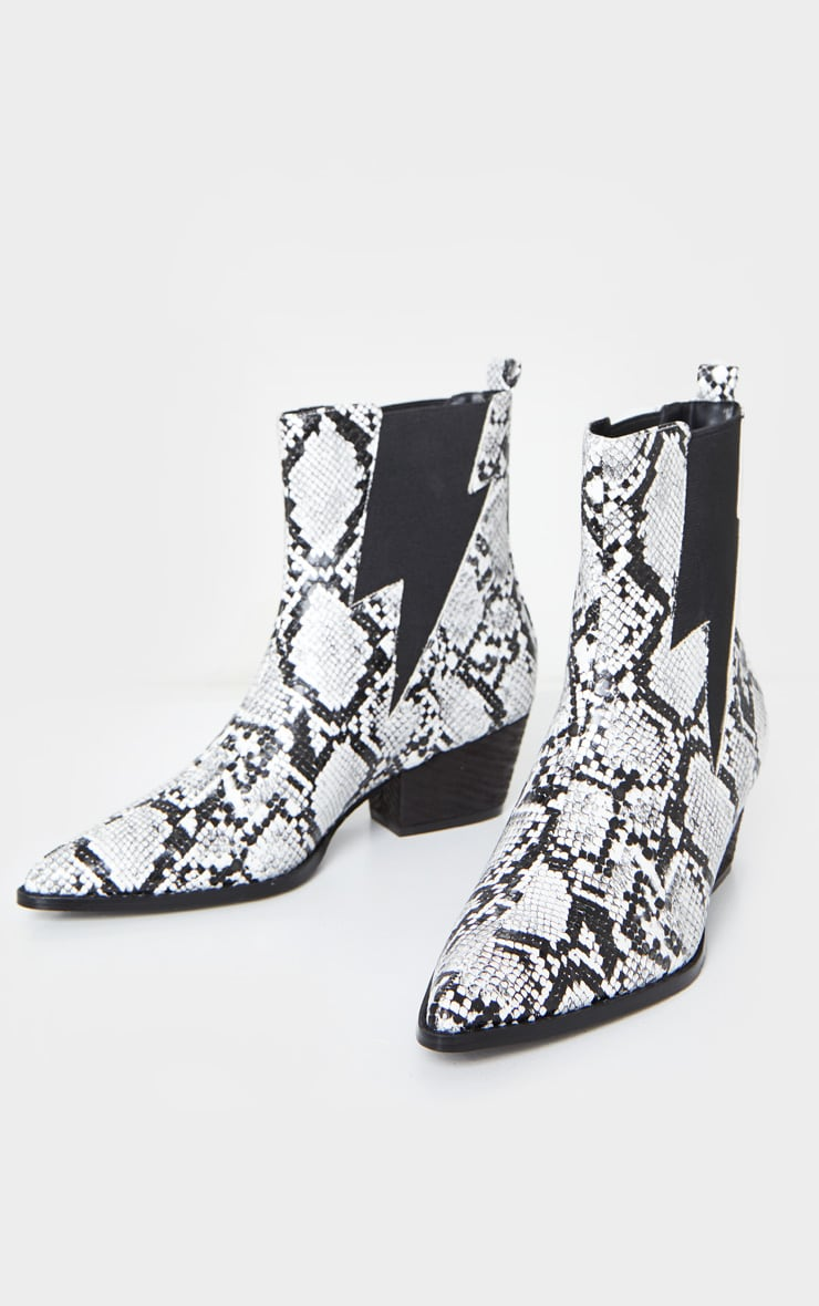 Snake Print Pointed Toe Ankle Western Boots 3
