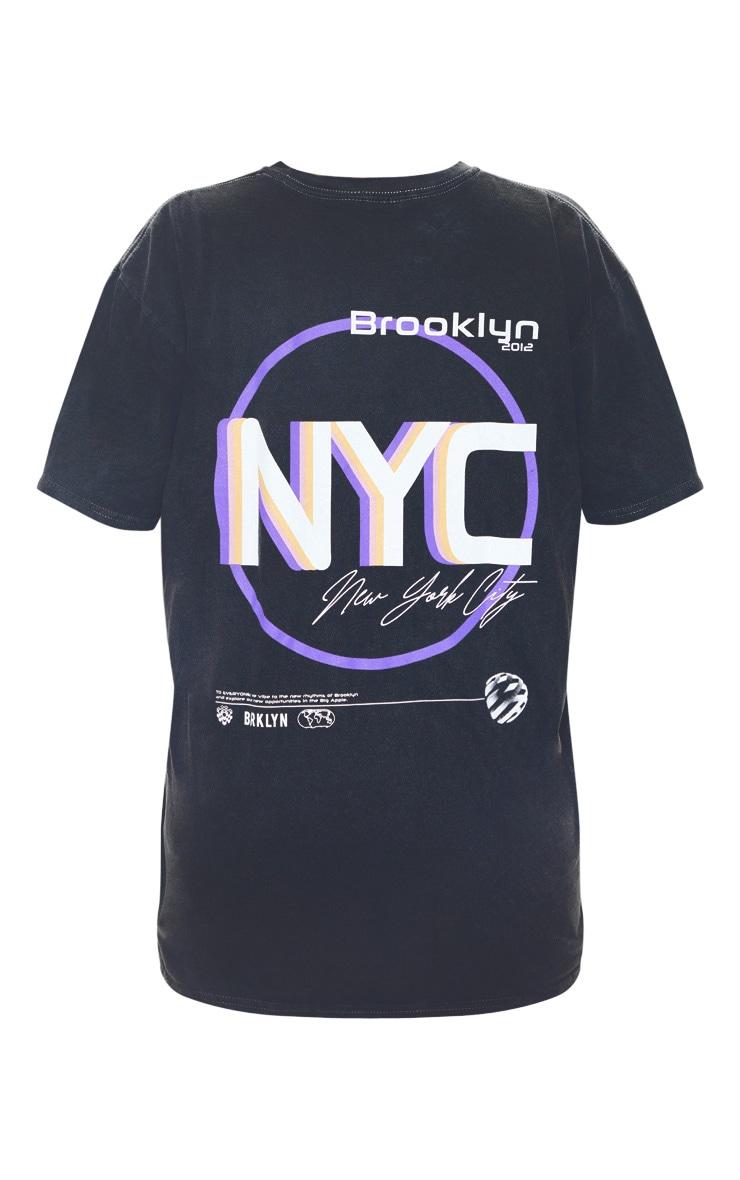 T-shirt oversize gris à slogan imprimé NYC 4