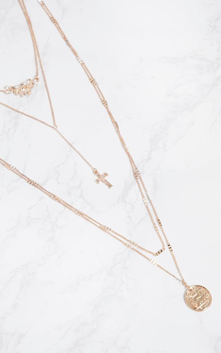 Rose Gold Renaissance Rose Cross Triple Layer Necklace 3
