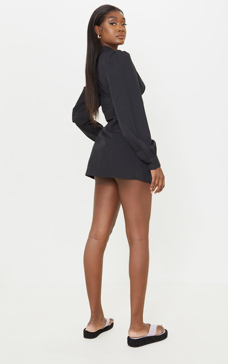 Tall Black Corset Detail Long Sleeve Shirt Dress  2