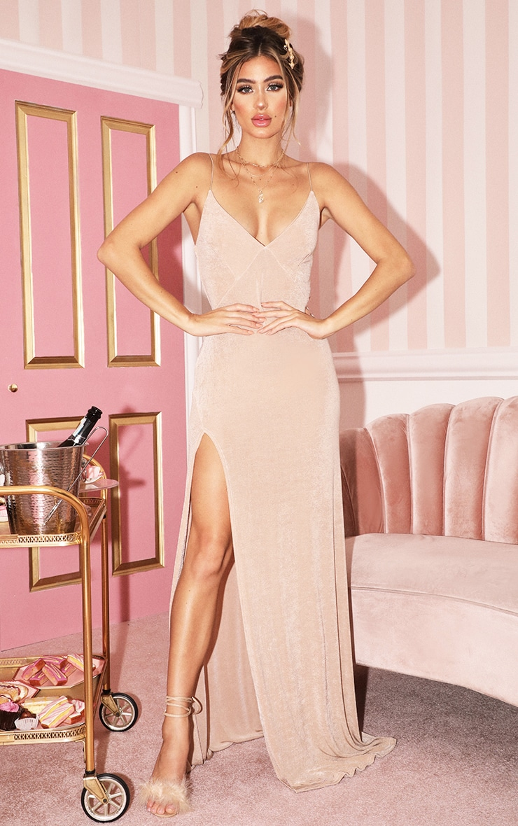 Champagne Strappy Thigh Split Maxi Dress 1