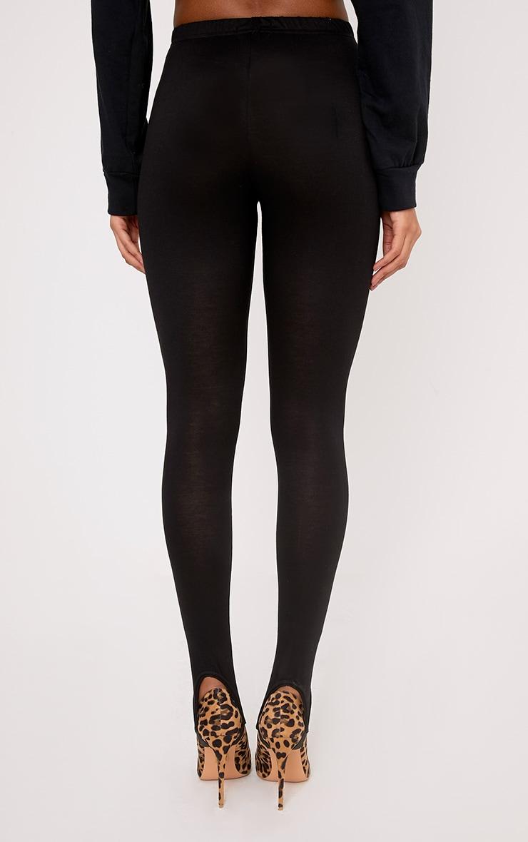 Basic Black Jersey Stirrup Leggings 4