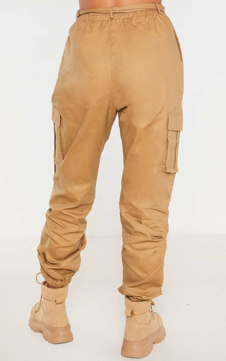 Taupe Utility Buckle Belt Joggers 4