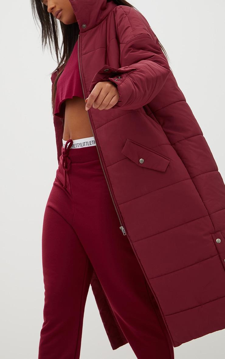 Premium Burgundy Longline Puffer Jacket 5