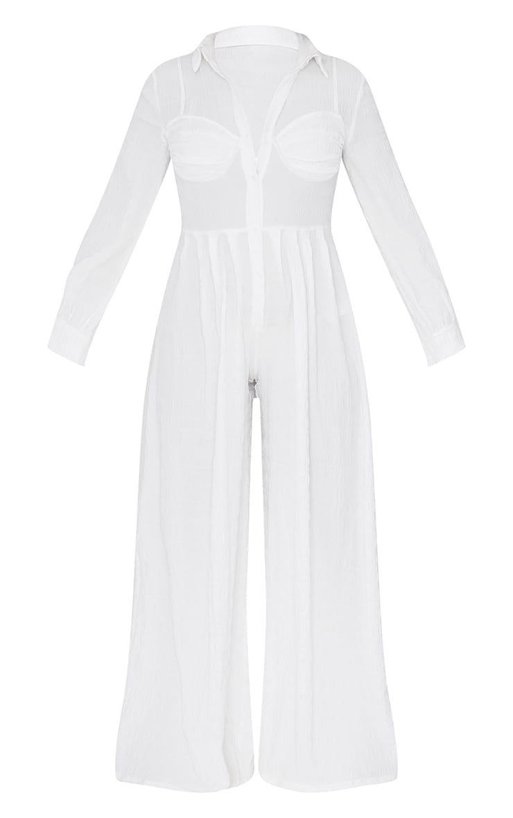 White Ruched Cup Wide Leg Shirt Jumpsuit 5
