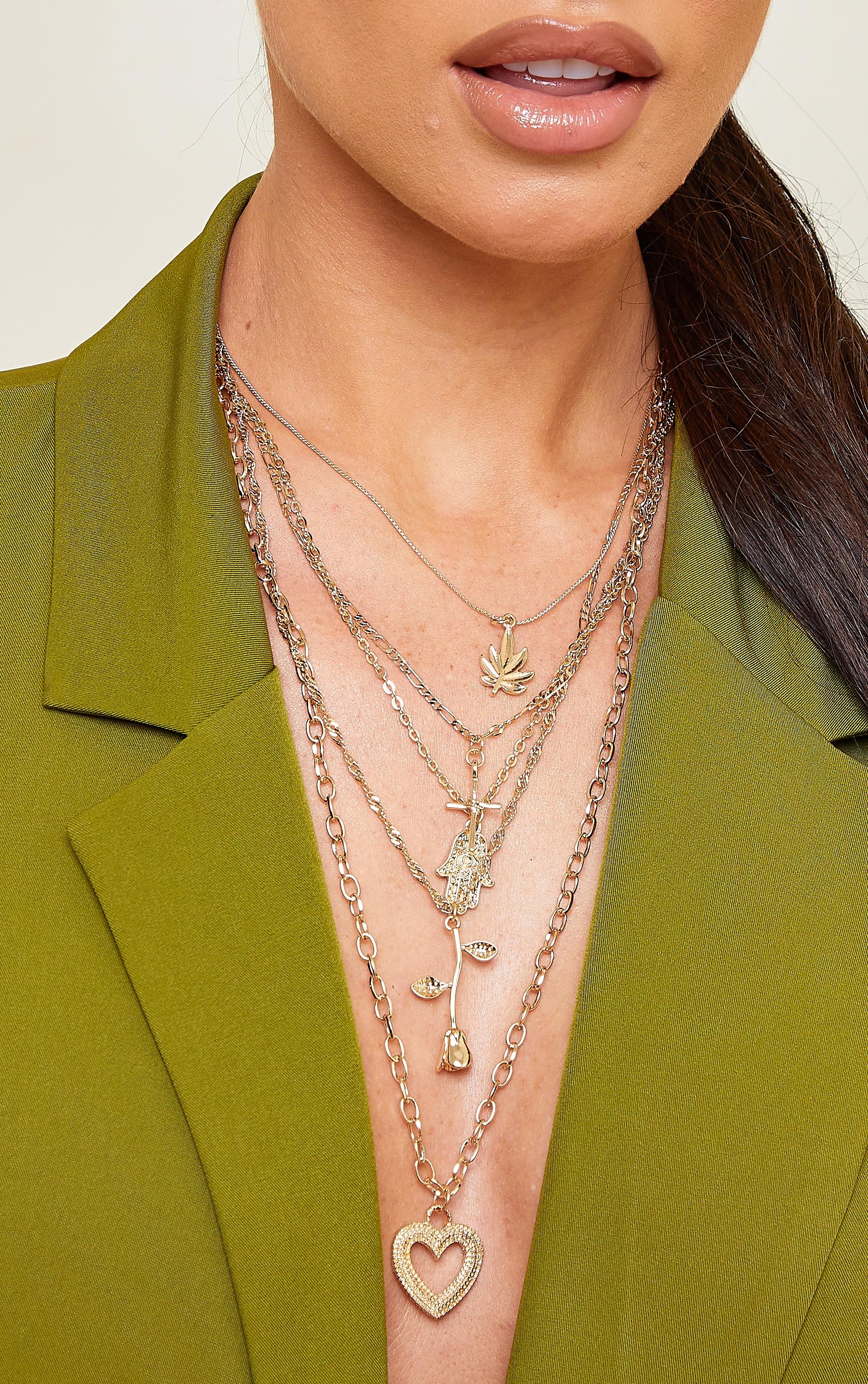Gold Five Layer Multi Pendant Necklace 2