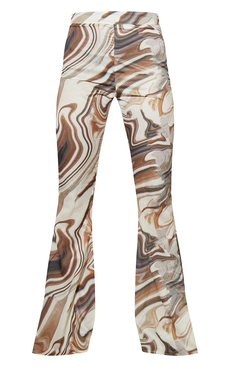 Brown Marble Print Woven High Waisted Flare Trousers 5