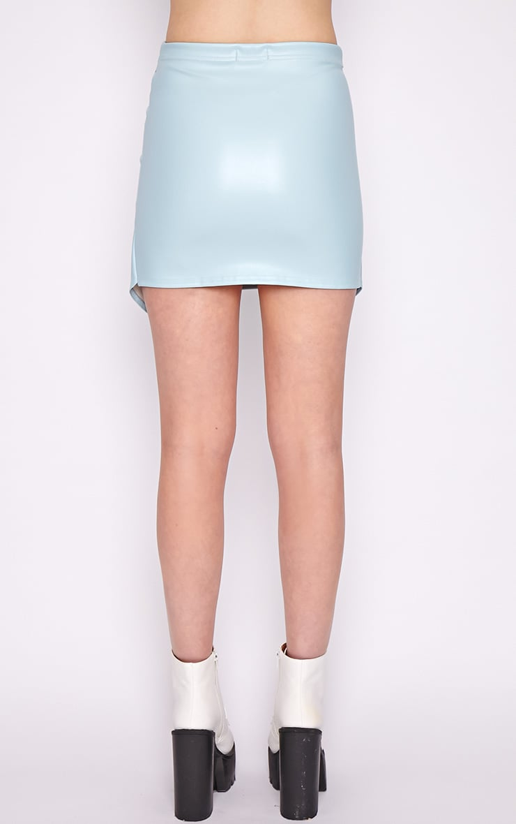 Valerie Blue Asymmetrical Leather Skirt 2