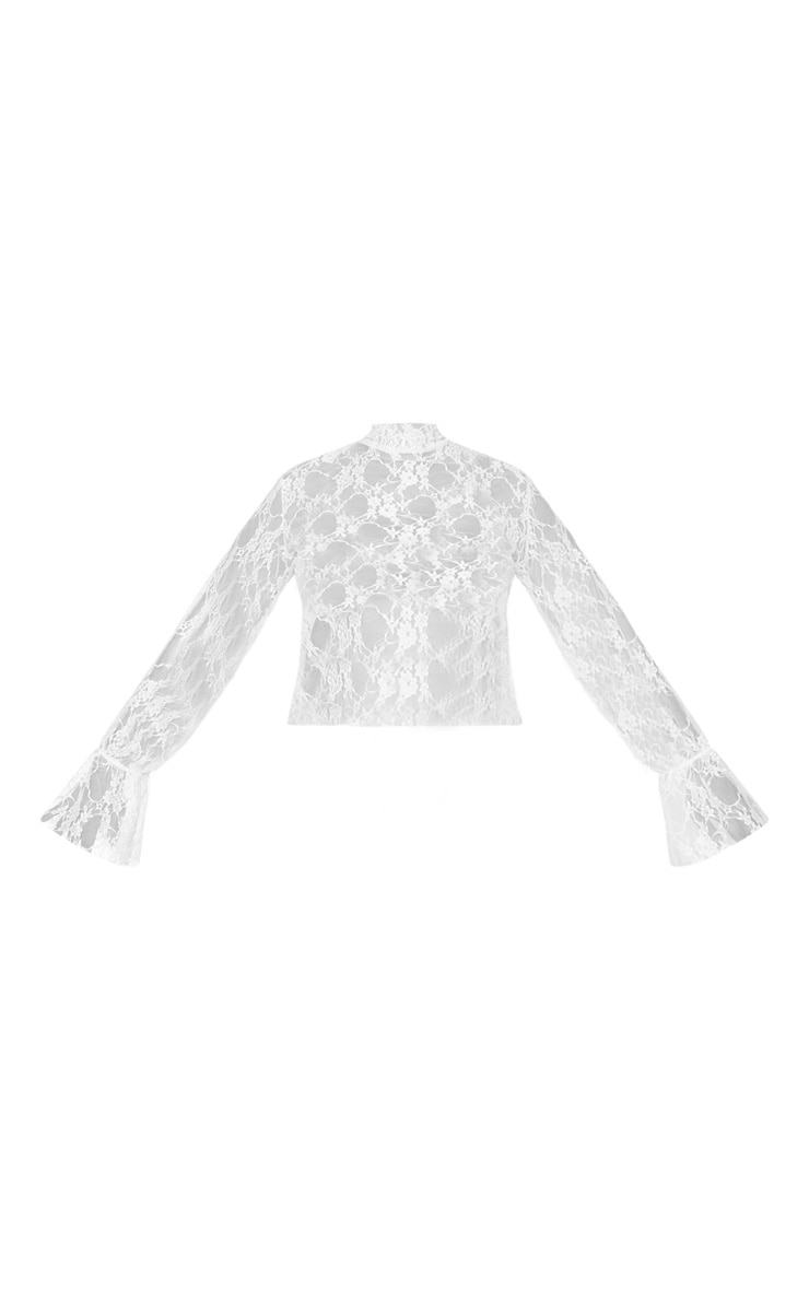 Plus White Lace High Neck Frill Cuff Blouse 5