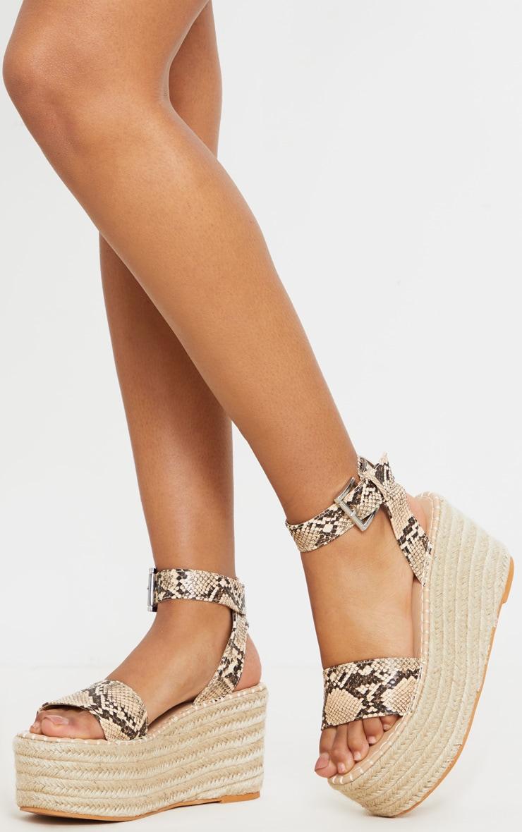 Snake Print Buckle Ankle Strap Flatform Espadrille Sandal 2