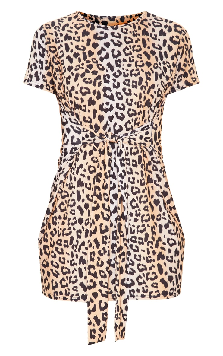 Brown Leopard Print Tie Waist Oversized T Shirt Dress 3