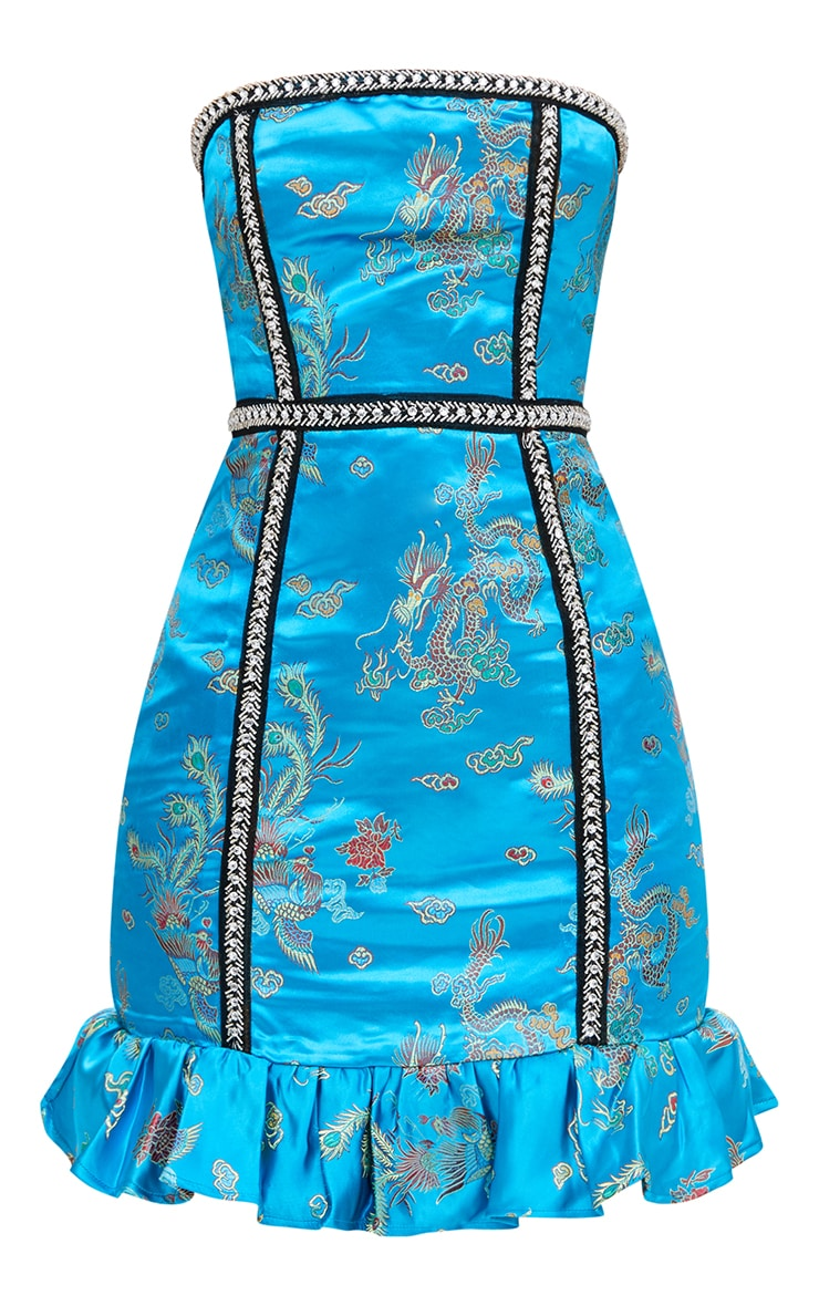 Premium Blue Jacquard Bandeau Frill Bodycon Dress 4