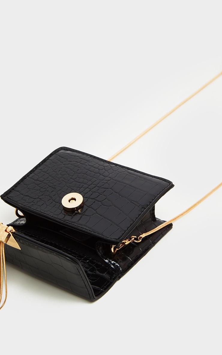Black Croc Style Cross Body Bag 4