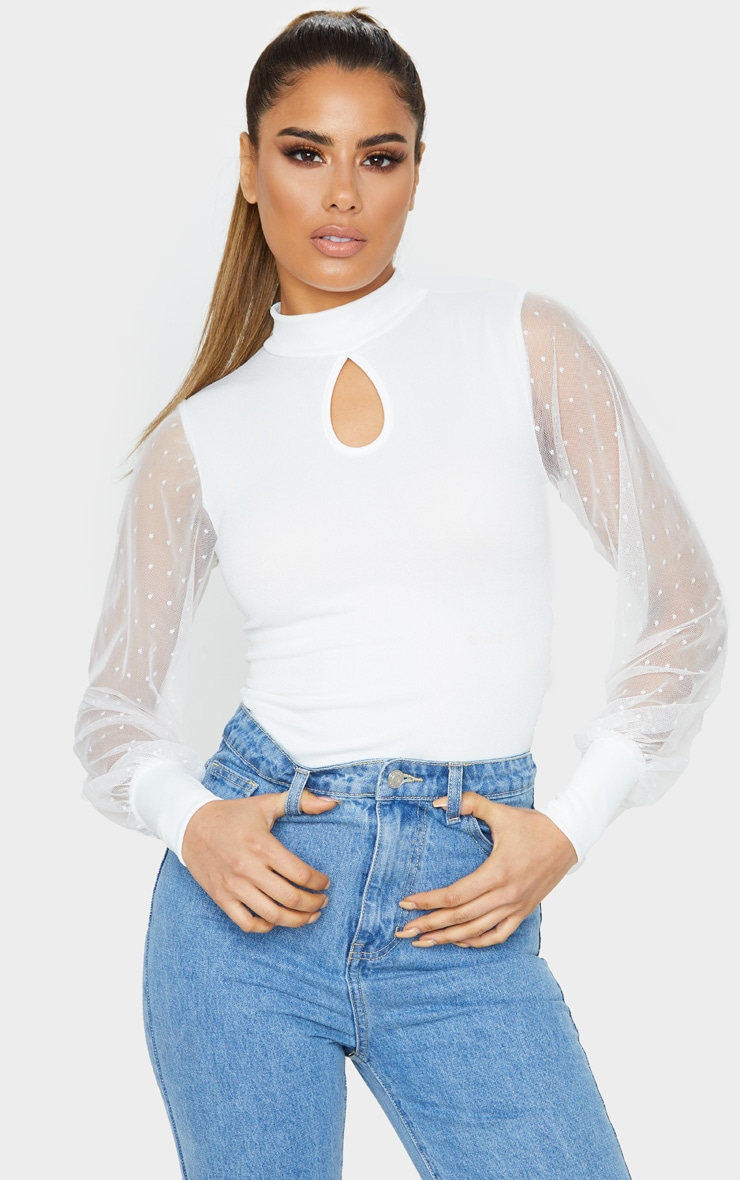 Tall Cream Dobby Mesh Sleeve Bodysuit 1