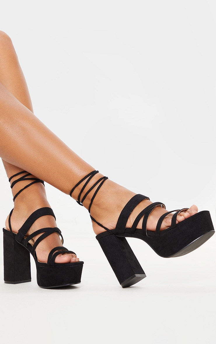 Black Platform Strappy Lace up Block Heel Sandal 2