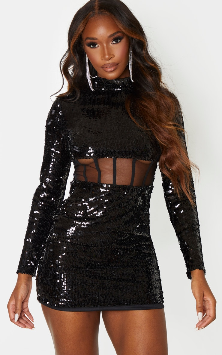 Black Sequin Long Sleeve Corset Detail Waist Bodycon Dress