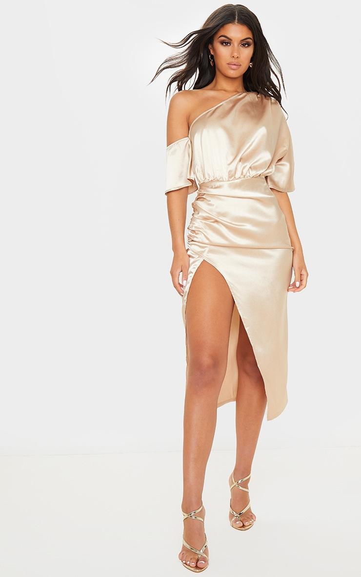 Champagne Satin One Shoulder Ruched Skirt Midi Dress 1