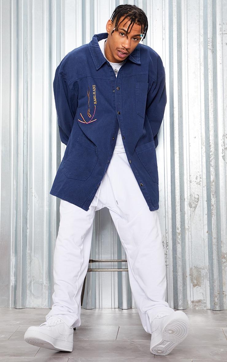 KARL KANI Blue Oversized Denim Shirt Dress 7